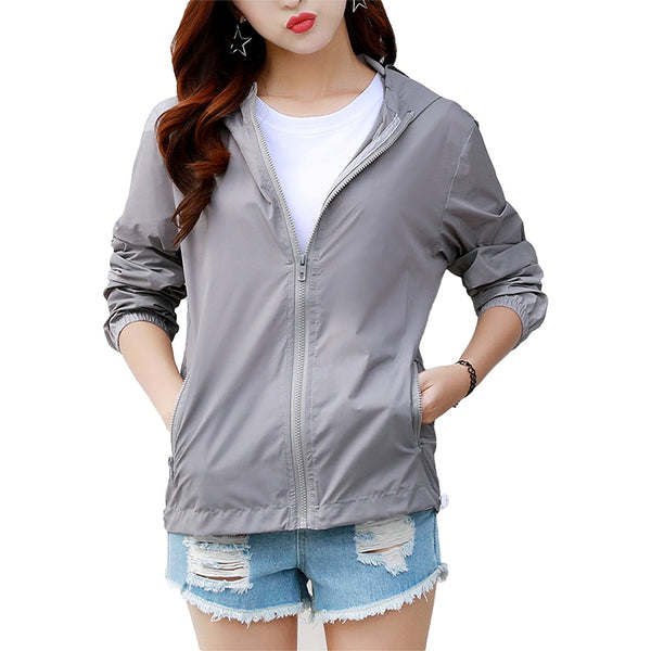 Clothing, Shoes & Accessories/Women's Clothing/Coats & Jackets---Women's Hooded Jackets Summer Causal Fashion Women Coats windbreaker Zipper Lightweight Bomber Famale