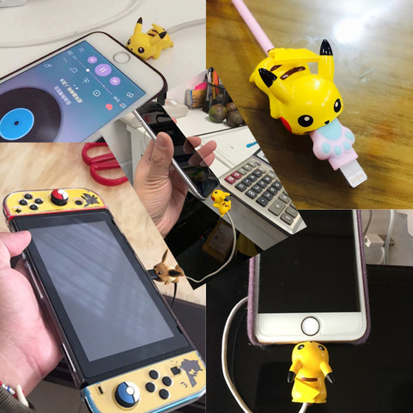 Costumes|||Cosplay|||Anime Merchandise|||Anime tattoo paster===Pokemon Go Cable Protector USB Charging Cable Bite Cosplay Props Take A Bite Pikachu Cable Chompers Protective Case Cute Gift