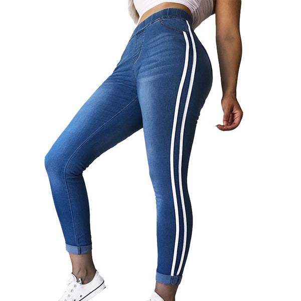 Women Casual Elastic Waist Stretch Skinny Jeans Ladies Pockets Side Striped Webbing Denim Trousers Slim Feet Leggings Pl (White L)