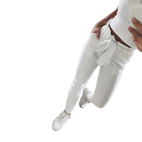 New Striped OL chiffon high waist harem women stringyselvedge summer style casual female trousers White