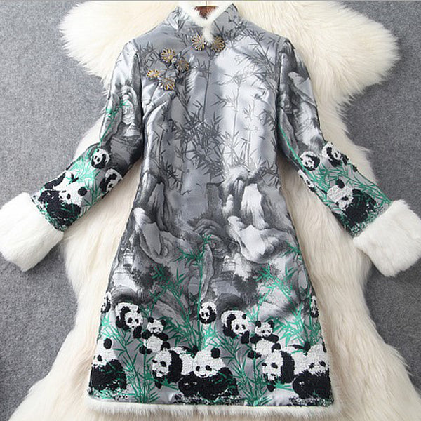 Clothing, Shoes & Accessories/Women's Clothing/Coats & Jackets---autumn and winter women's quilted padded warm panda bamboo embroidery stand collar hair sleeves fashion dress coat