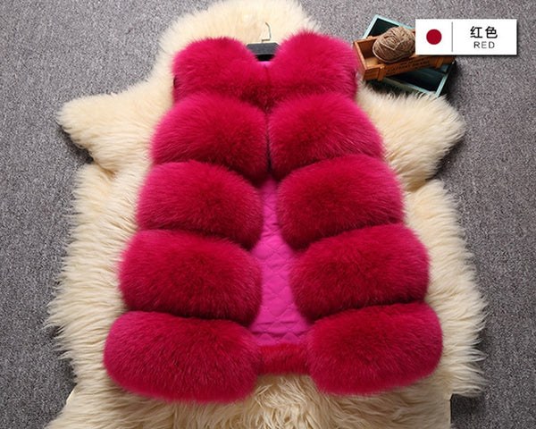 Clothing, Shoes & Accessories/Women's Clothing/Coats & Jackets---Solid Color Womans Faux Fur Vest Female Casual Warm Coat Sleeveless Thick Artificial Jackets Women Winter