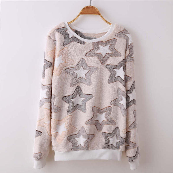 Fashion Long Sleeves Hoodies Woman Sweatshirt Winter Soft Flannel Warm Casual Pullover Tops