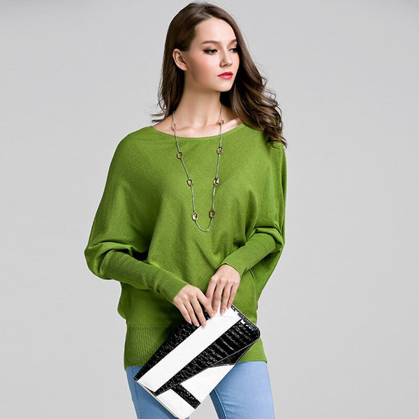 Ccibuy Women's Knitted Sweater Pullover Batwing long Sleeve Female Jumper Pluz Size Winter Clothes for Women Pull Femme Hiver