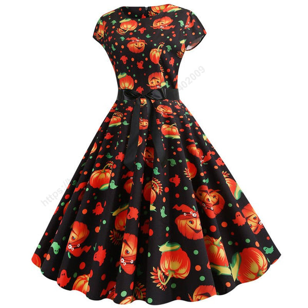 Clothing, Shoes & Accessories/Women's Clothing/Dresses---Pumpkin Print Halloween Dress Women Summer O Short Sleeve Party robe femme Elegant Vintage Dresses Plus Size