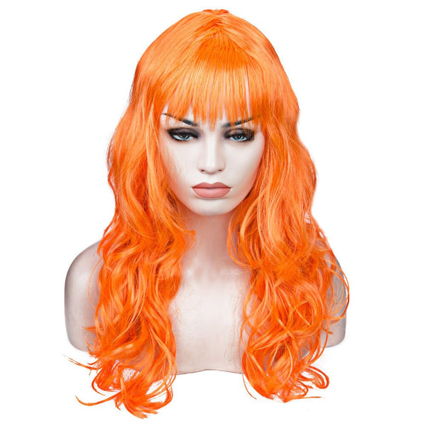 Women's Medium Long Curly Wavy Hair  Wig with Oblique Bangs Japan COS Anime Costume Party  Wig Cap Multicolor