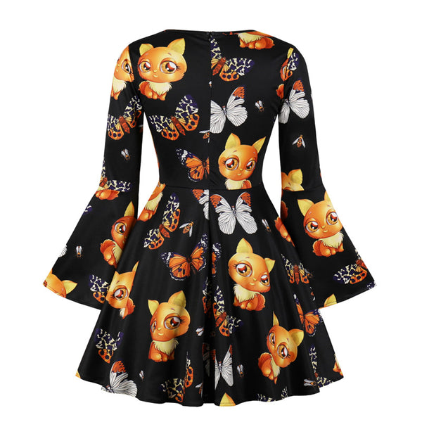 Clothing, Shoes & Accessories/Women's Clothing/Dresses---JLI MAY Vintage Halloween Dress Women Cute Cartoon Print Party V-Neck Flare Sleeve Mini Ladies Retro Autumn
