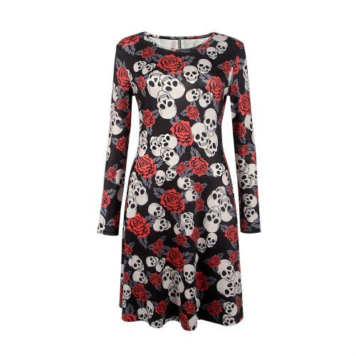 Clothing, Shoes & Accessories/Women's Clothing/Dresses---Autumn Winter Halloween Dresses Sexy Printing Longarm Oansatz Dress Clothes