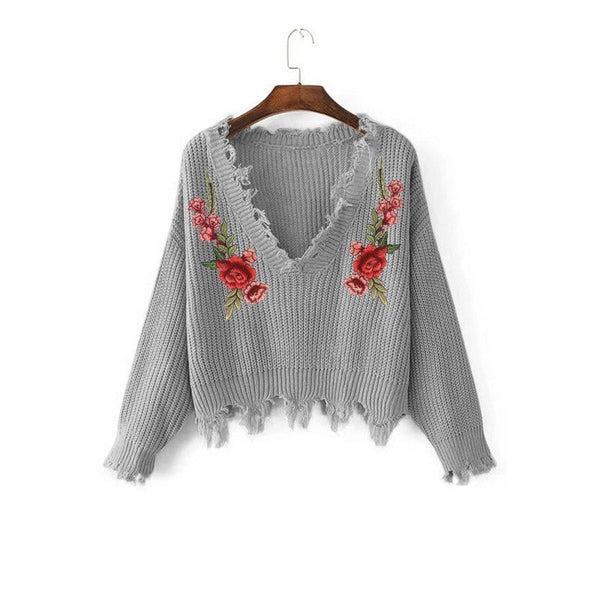 Ccibuy Sweater Female Women's Embroidery Decal Loose Long Sleeve V-Neck Ripped Pullover Tassels Knitted Pull Femme Hiver