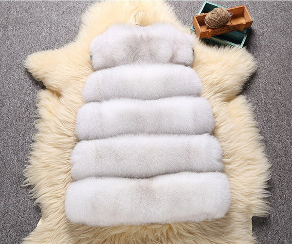 Solid Color Womans Faux Fur Vest Female Casual Warm Coat Sleeveless Thick Artificial Jackets Women Winter