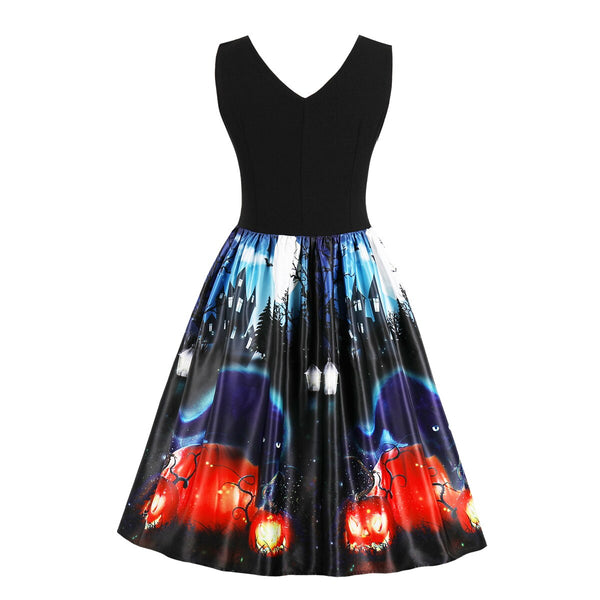 Clothing, Shoes & Accessories/Women's Clothing/Dresses---Halloween Women's Summer S Vintage Rockabilly Dress Sexy Retro Print Charmian Party Casual Plus Vestido Size