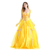 Halloween Beauty and the Beast Costumes Adult Belle Princess Dresses Women Party Fancy Yellow Long Dress Anime Cosplay