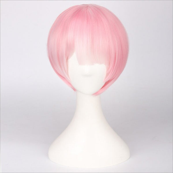 Re:Life In A Different World From Zero Graduated Ram Rem  Wig for Women Short Straight Pink Blue Anime Wig