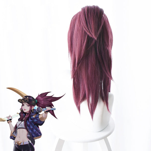 Costumes|||Cosplay|||Cosplay Wigs===LOL  New Skin K/DA Cosplay Hair  Akali Cosplay Headwear Game LOL KDA 45CM Mixed purple Heat Resistant Synthetic Hair Perucas