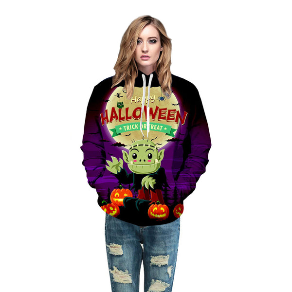 Clothing, Shoes & Accessories/Women's Clothing/Tops & Blouses---Hoodies Sweatshirt Pullover Couples Halloween Horror Winter Women Men Pumpkin Print Long Sleeve Letter Tops Felpa Mujer