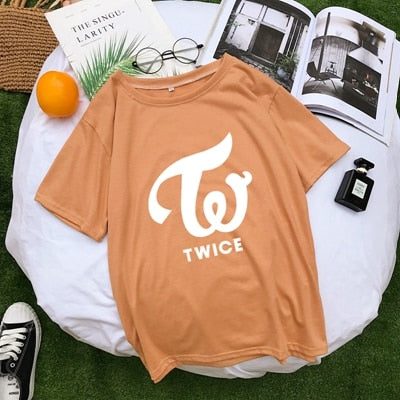 Round neck letter print fashion casual loose T-shirt