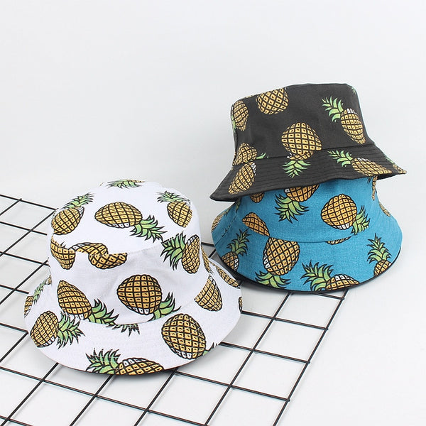 Fruit Print Double-sided Fisherman Hat Casual Bucket Sun Hat