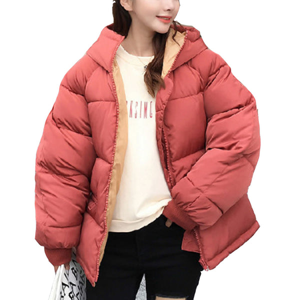 Women'S Thick Hooded Warm Down Jacket Front zipper Solid Color Pocket