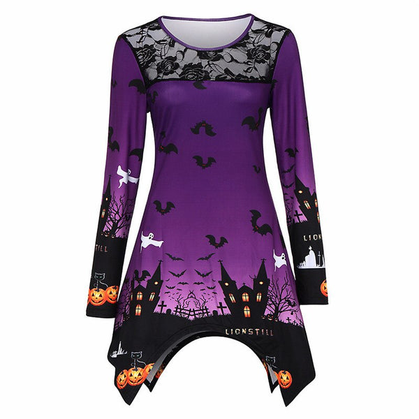 Costume Sweatshirt Women Fall Halloween Horror Long Sleeve Lace Hollow Casual Party Irregular Tops Sudadera Mujer