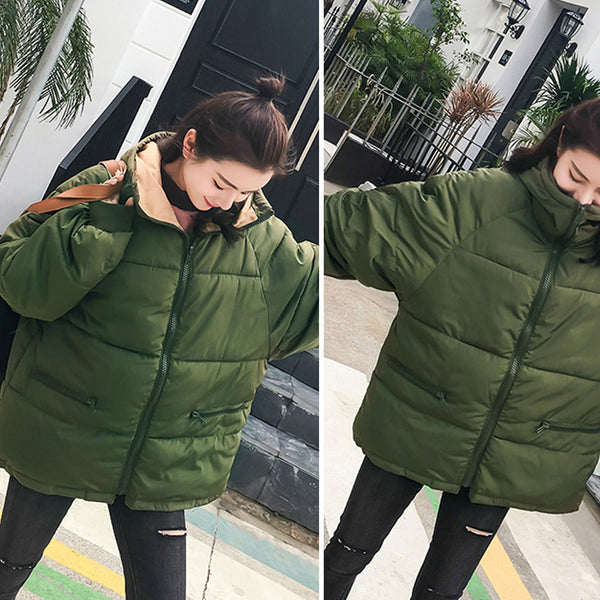 Clothing, Shoes & Accessories/Women's Clothing/Coats & Jackets---Women'S Thick Hooded Warm Down Jacket Front zipper Solid Color Pocket