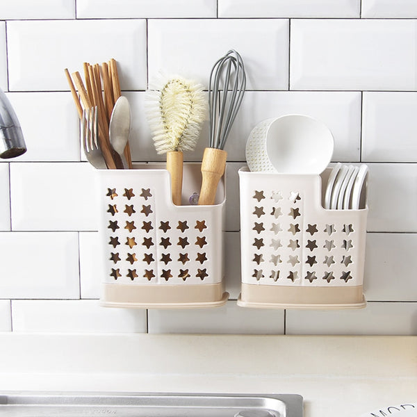 Household chopsticks cage suction tray type drainage rack wall-mounted kitchen utensils storage box