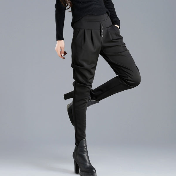 High stretch waist harem pants fashion slim solid color trousers