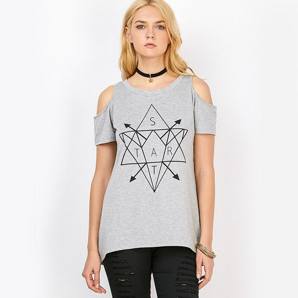 Geometric elements of leisure short-sleeved T-shirt to show shoulder female personality