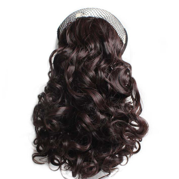 Women's ponytail solid color short curly fashion wig