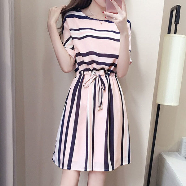 O-collar slim Mini casual striped dress