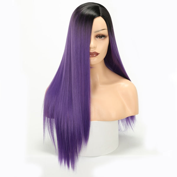 Long straight wig synthetic wig black female chemical fiber wig