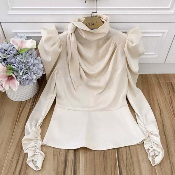 Satin bubble long-sleeved tie with large size fashion top
