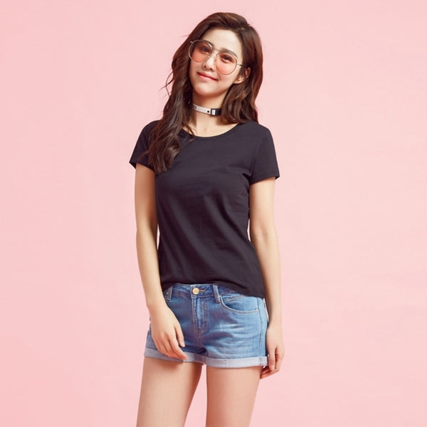 Solid color short-sleeved simple O-neck top