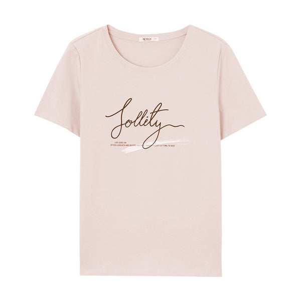 Simple font printing round neck large size short-sleeved T-shirt