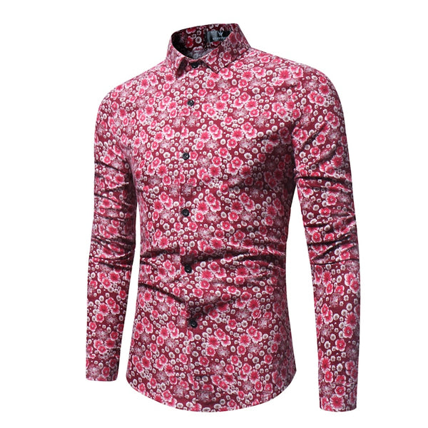 Men's Retro-printed Casual Fashion Long-sleeved Shirts
