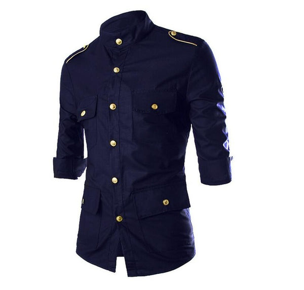 Fashion long sleeve casual men's shoulder button decorative uniform shirt