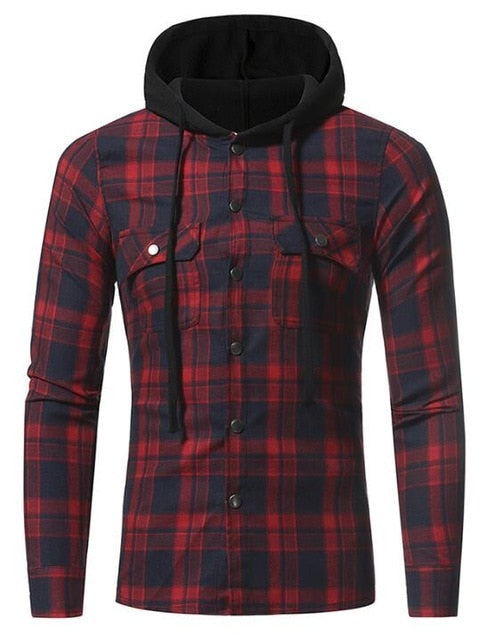 Fashion long-sleeved men's Plaid casual Hoodie