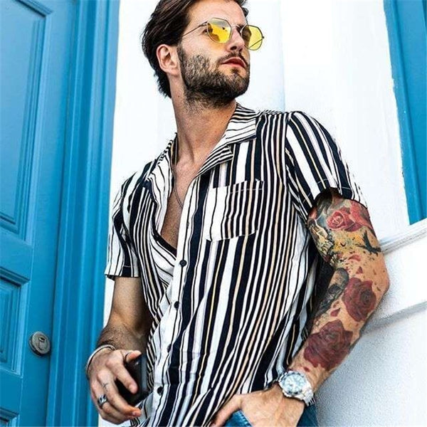 Men's Striped Casual Slim Fashion Loose Shirt