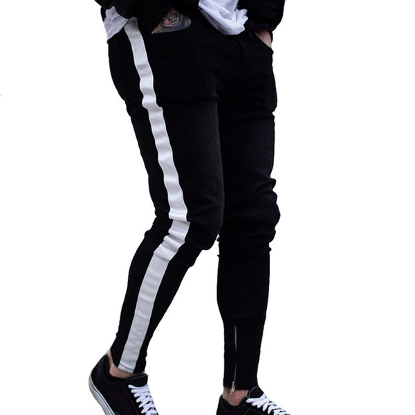 Sexy denim trousers straight casual striped pencil pants