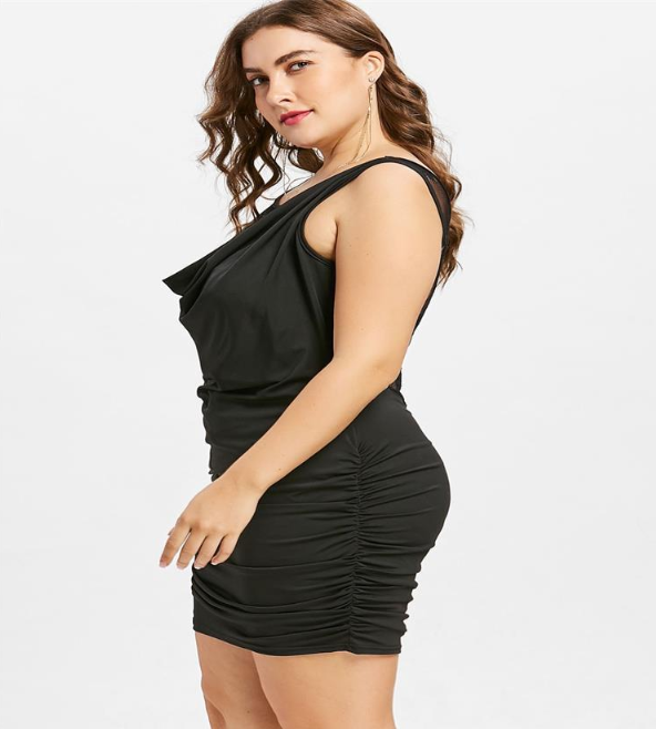 Lace Panel Plus Size Draped Club Dress