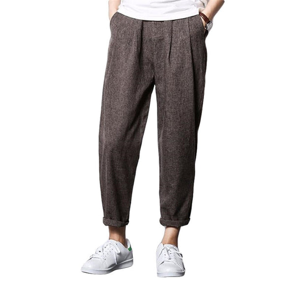 Linen harem pants, sweatpants, hip-hop loose stretch pants