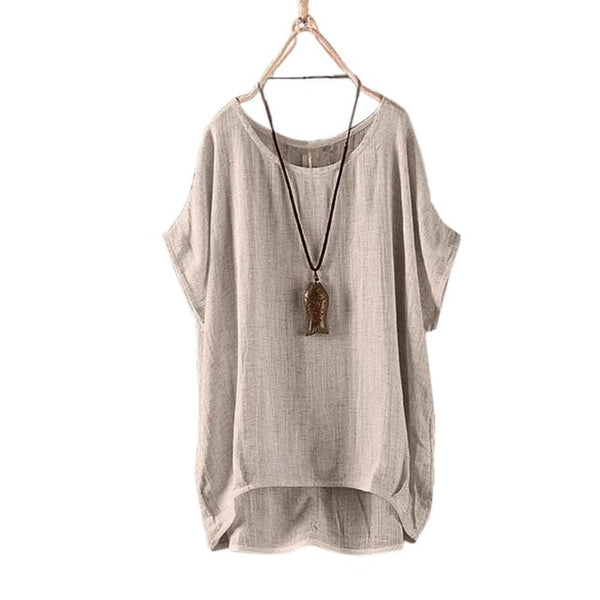 Round-necked flax casual women's breathable blouse