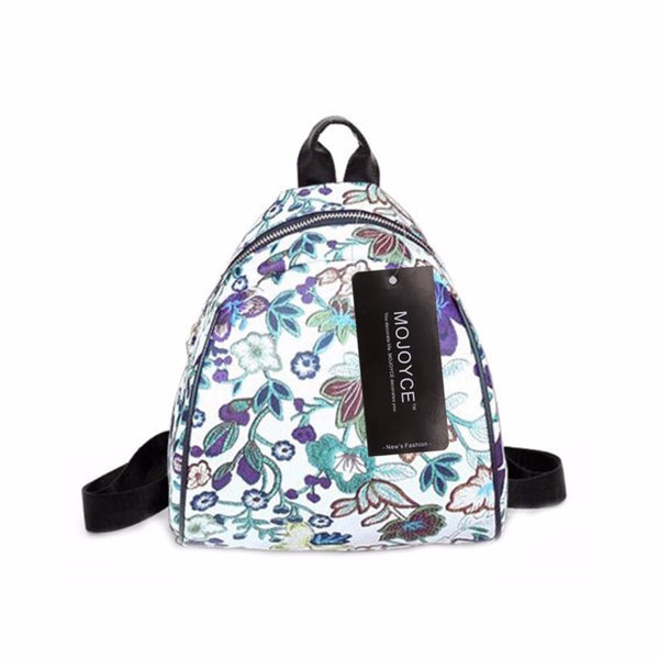 Leather floral print backpack leisure travel backpack
