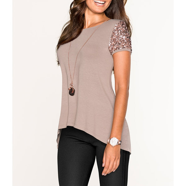 Fashion round neck sequins casual asymmetric T-shirt