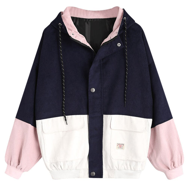 ZAFUL Color Block Hooded Corduroy Jacket Full Sleeve Patchwork Chic Jackets Streetwear Women Coats Autumn Winter