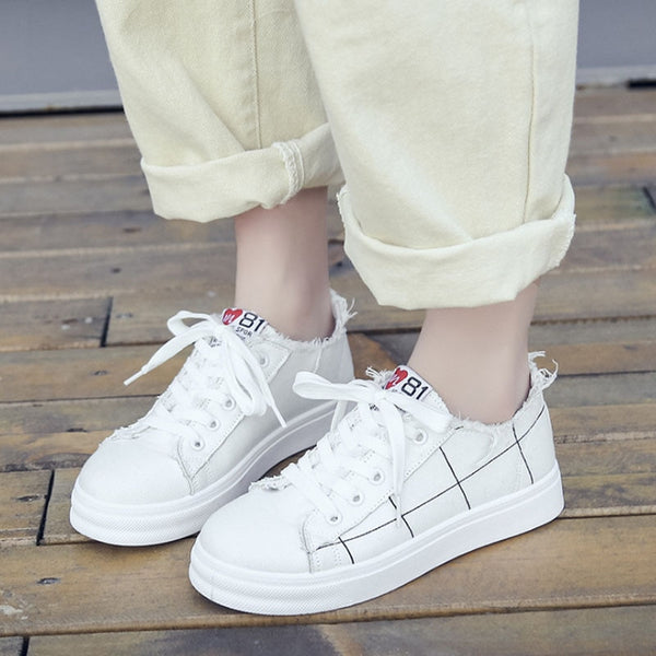 Women's leather platform sneakers with casual shoes