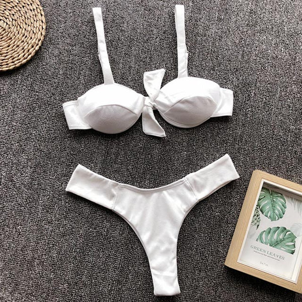 Velvet two-piece thong solid color bikini set