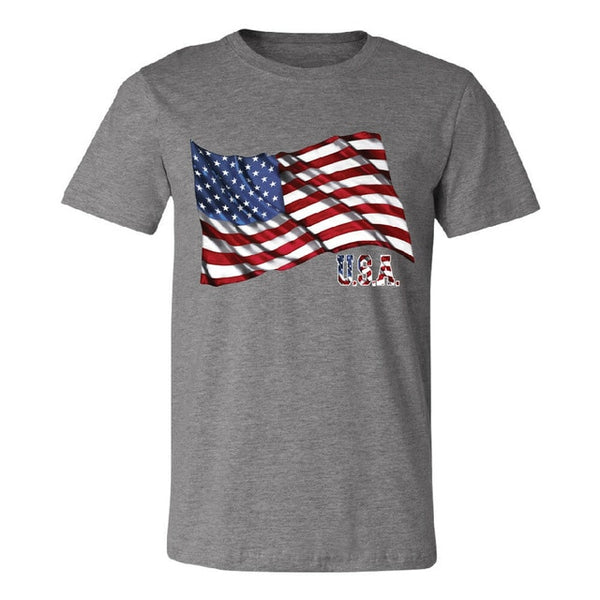 Fashion American Flag Printed Round Neck Short Sleeve T-Shirt