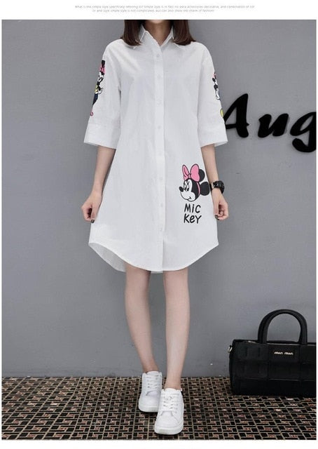 Loose printed fashion casual round neck large size mini dress