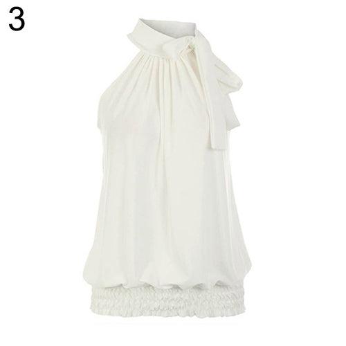 Chiffon Sexy Leisure Pure Colour Pleated Sleeveless vest