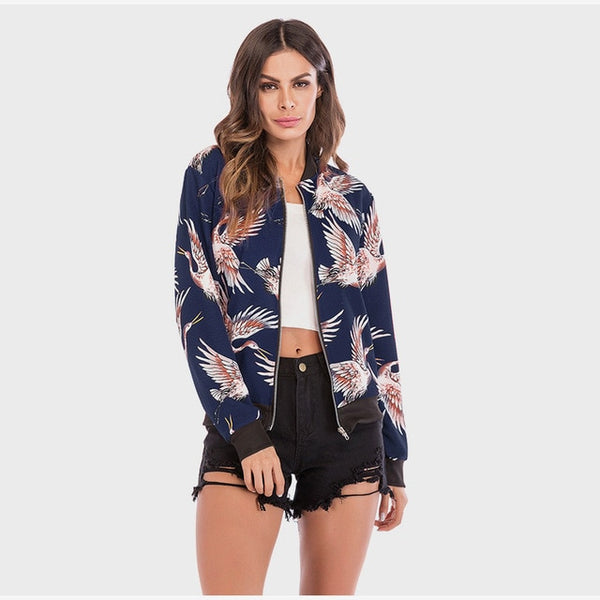 Women's Floral Print Jacket Casual Long Sleeve V-neck Jacket